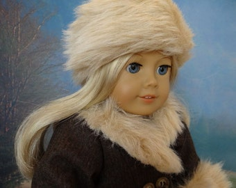 1930's wool coat and hat with fur trim for American Girl or similar 18 inch doll.