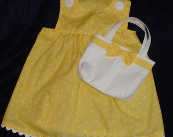 Pretty Yellow and White Polka Dot  Dress with Matching Purse - Toddler Girl Size 2T