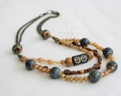 Beaded Necklace in Copper Tan Blue