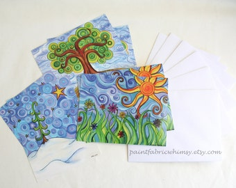Postcard Set printed with Original Art - Set of 6 Cards Original Watercolor Prints with Envelopes