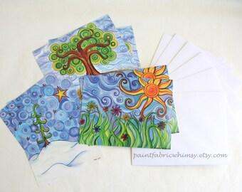Postcard Set, Original Watercolor Prints, Stationary Set, Original Art Postcards, Travel Postcards, Colorful Cards, Gift for Traveler