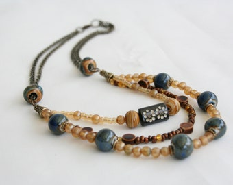 Necklace Multi-Strand, BoHo Chic Jewelry, Blue Tan Necklace, Mother's Day Gift, Handmade Jewelry, Beaded Necklace, Unique Hippie Fashion
