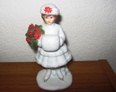 Vintage Porcelain Christmas Figurine of a Snow Girl