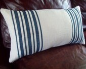 Burlap Pillow - Striped Pillow - STUFFED Pillow - Decorative Lumbar Pillow - Choose Colors - Grain Sack Pillow - Feedsack Pillow