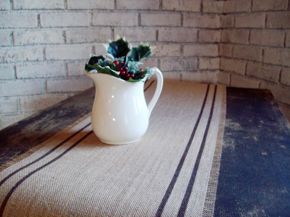 Rustic Primitive Burlap Table Runner, Country Prim Decor, Hand Painted Stripes, Brown, More Colors, Vintage Grain Sack Style Runner