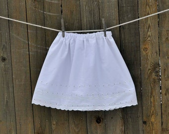 Girls white Eyelet Skirt, fully lined, 6m,9m,12m,18m,2t,3t,4,5,6,7 eco-friendly, upcycled