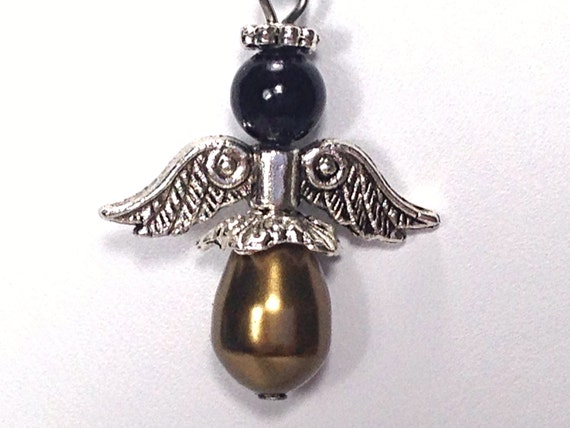 Angel Charm - Bronze Swarovski Crystal Pearl, Black Jade, Stainless Steel, Guardian Angel, Rosary Charm by Belladonna's Shoppe
