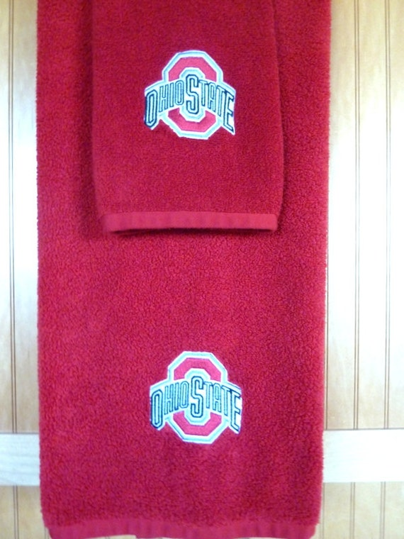 items similar to embroidered ohio state bath towel set
