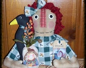 Primitive Folk Art FaLL Raggedy Annie Ann Doll Crow Scarecrow Pouch Shelf Sitter PrimsGoneWild