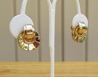 vintage 40s 50s coro gold tone metal door knocker button earrings screw back