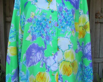 vintage 70s floral secretary blouse shirt b42 terry of chicago