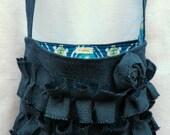 Crossbody Purse Navy Blue Burlap Bag