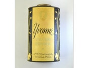 Vintage 1920s Art Deco Yvonnne Talcum Powder Tin // Art Deco Talc Tin