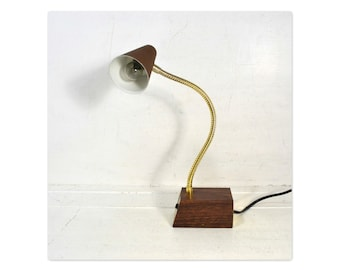 Vintage Brown Metal Tensor Desk Lamp // Adjustable Goose Neck Wood Grain Light  w/ Hi=Lo Settings