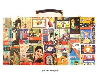 Geisha Case for Makeup Brushes - Japanese Vintage illustrations - Spring gift idea - Retro storage case - eclectic altered art - OOAK