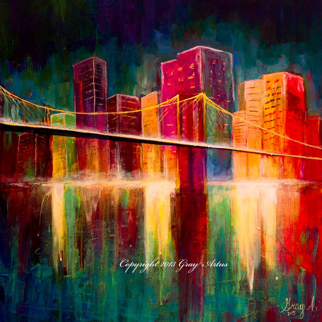 Large colorful original acrylic painting of 39 brooklyn for Custom acrylic paint