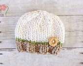 Wooly Knit Button Beanie, Newborn Photography Prop, Tan Cream and Green with Wooden Button