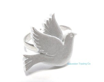 Dove Ring - Silver and White Bird of Peace - Christmas Ring - College Greek Accessory - Big / Little Gift - Adjustable
