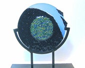 Fused Art Glass Circular Sculpture Fractured Space Artist Signed