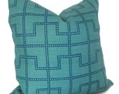 Celerie Kemble Bleecker Peacock Blue Decorative Pillow Cover, Square or Lumbar pillow - Accent Pillow, Throw, Schumacher, Turquoise trellis