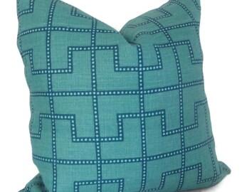 Celerie Kemble Bleecker Peacock Blue Decorative Pillow Cover, Square or Lumbar pillow - Accent Pillow, Throw, Schumacher, Turquoise trellis
