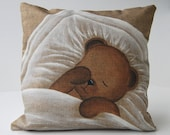 """Cushion cover shabby chic """"Teddy bear yawning sleep"""" kids cushion, baby gift, nursery art, French decor from Paris, made in french"""
