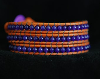 Leather and Amethyst Bracelet - Amethyst Leather Wrap - Purple Beaded Bracelet - Purple and Orange Wrap (B256)