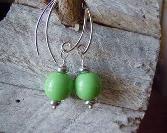 Sterling Silver Earrings Czech Glass Lime Green Spring