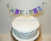 Garden Party Cake Banner Floral Bunting Topper Purple Lavender Green