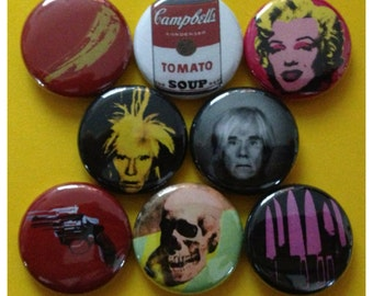 "8 Brand New 1"" ""Andy Warhol"" Button Set"