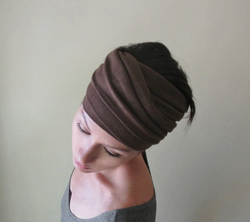 milk chocolate brown scarf hair wrap headband