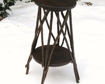 RUSTIC PLANT STAND, Side Table, Occasional Table, Candle Stand, Folk Art Table, Primitive, Reclaimed Wood Stand, Twig Table, Tramp Art Stand