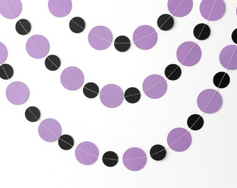 Purple Black Paper Circle Garland - Bold Home Decor - Birthday, Party Decor - Wedding Backdrop