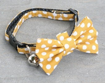 Mustard Polks Dot, Mustard Collar, Polka Dot Collar, Mustard Dots, Cat Collar - Mustard Polka Dot - Matching Bow Tie and Flower Available