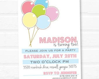 Balloon Birthday Invitation - Fully customizable - Printable or Custom Print