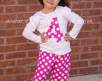 Custom Girls polka dot birthday pajamas