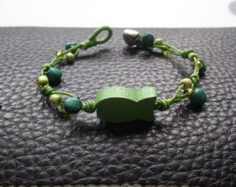 little green fish bracelet Thailand handmade jewelry on Mother's day gift new collection by Nannapatt/Summer accessories/Bells bracelet/Gyps