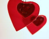 Red Valentine Sweetheart Heart Hanging Glass Ornament