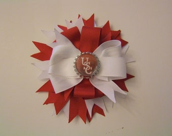 Red/White Hairbow with Alligator Clip with USC Bottlecap