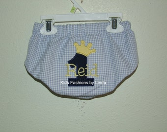 Personalized Birthday Number with Crown Blue Gingham Seersucker/Navy Diaper Cover