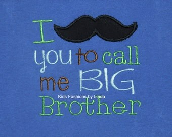 Royal Blue T-shirt  with Big Brother Mustache
