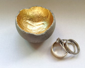 Tiny concrete ring dish with gold inside, wedding ring dish, gift idea