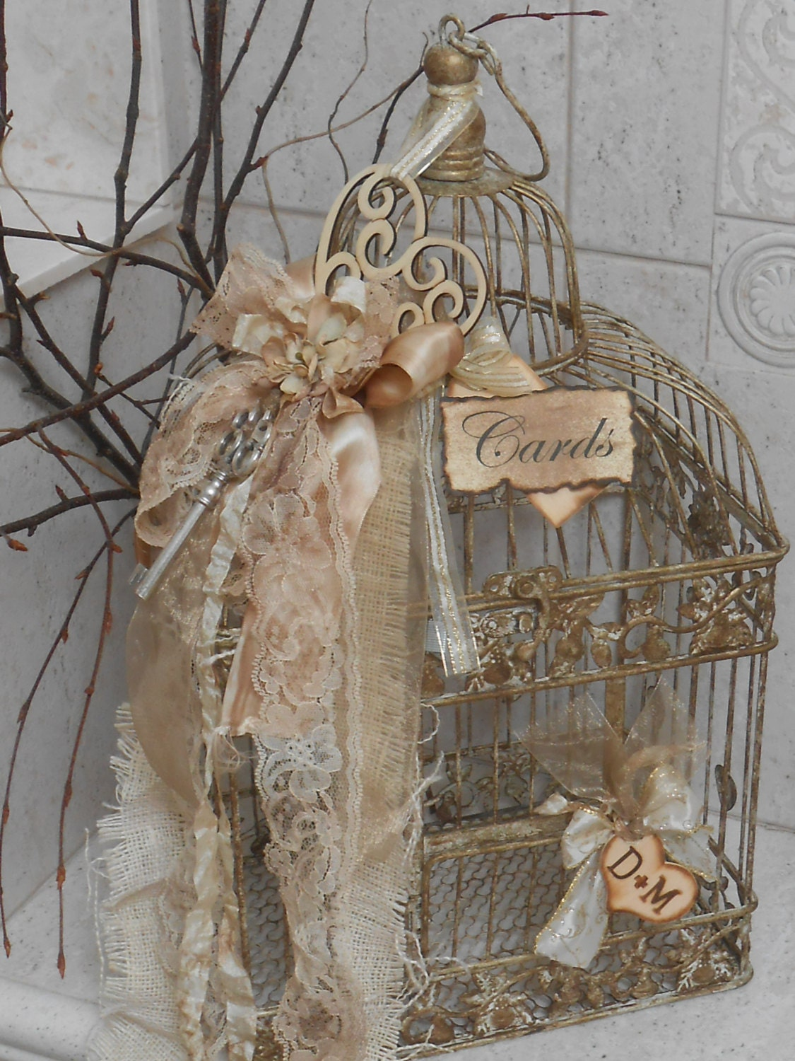 Wedding Card Box Birdcage Cardholder Vintage By