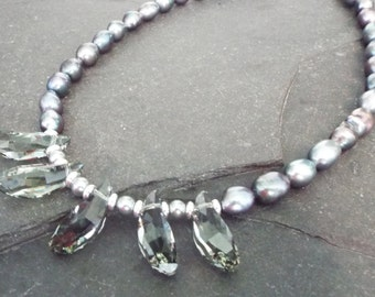 Grey freshwater pearl and swarovski crystal necklace