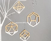 Geometric Ombre White Christmas Tree Ornaments Decorations - Laser Cut Dip Dye x 4 - SketchInc