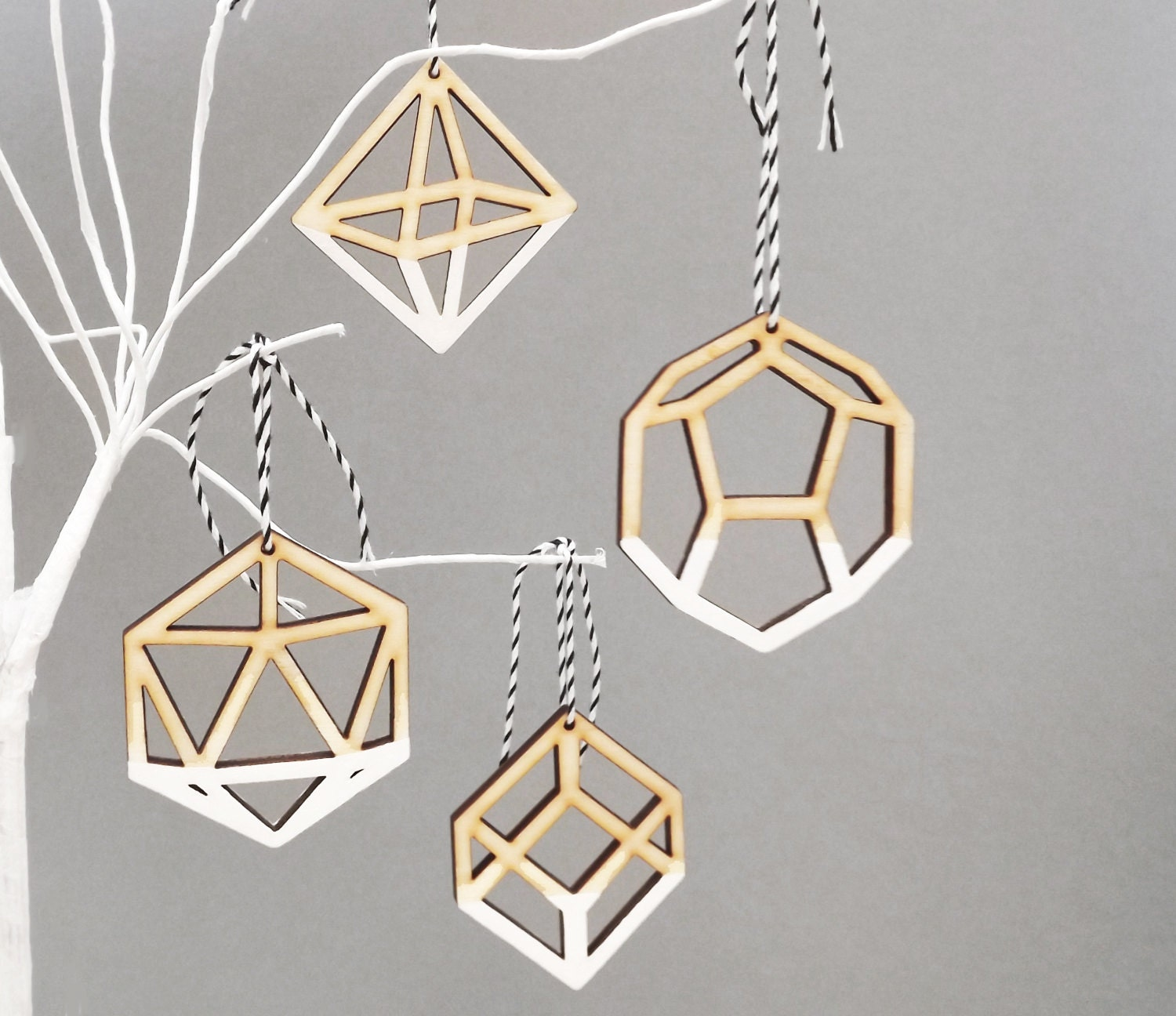 Geometric Ombre White Christmas Tree Ornaments Decorations