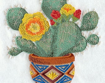 Southwestern Realistic Prickly Pear Cactus  Embroidered Flour Sack Hand/Dish Towel