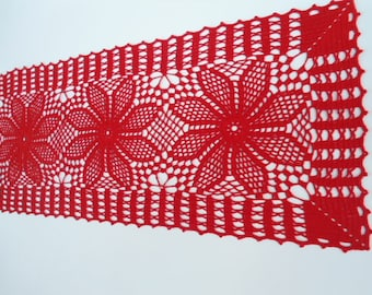 crochet doily , runner , lace tablecloth , 27 x 11 inches