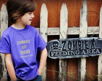 SALE Zombies eat brains kids t-shirt