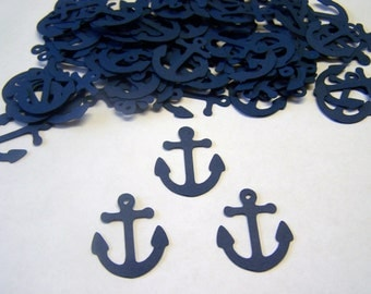 Anchor Confetti Nautical Baby Shower Die Cut Anchor Cut out Embellishment Table Scatter 100 Navy Blue
